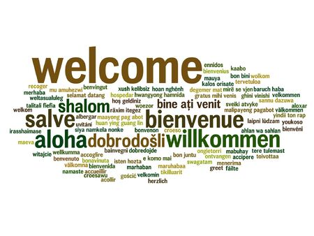 multilingual: Concept or conceptual abstract welcome or greeting international word cloud in different languages or multilingual isolated Illustration