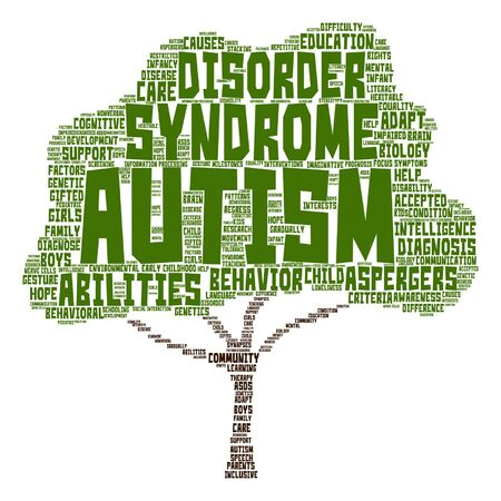 gifted: Vector conceptual childhood autism syndrome or disorder abstract tree word cloud isolated Illustration