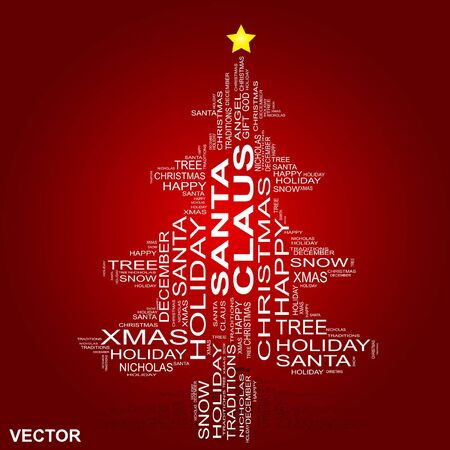 carols: Vector conceptual Christmas holiday word cloud isolated on red background