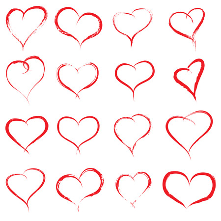Vector concept or conceptual painted red heart shape or love symbol set or collection, made by a happy child at school isolated on white background Illustration