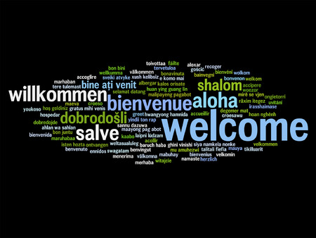 multilingual: Concept or conceptual abstract welcome or greeting international word cloud in different languages or multilingual