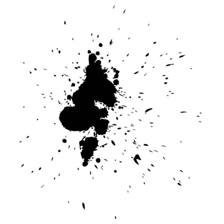 paint drop: Vector artistic black paint hand made creative wet dirty ink or oil drop spots silhouette isolated on background
