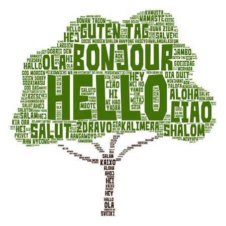 Vector conceptual abstract hello or greeting international tree word cloud in different languages