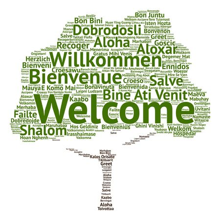 Vector concept or conceptual welcome or greeting international tree word cloud in different languages or isolated