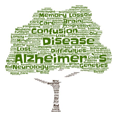 Vector conceptual Alzheimer`s disease symtoms abstract tree word cloud isolated Illustration