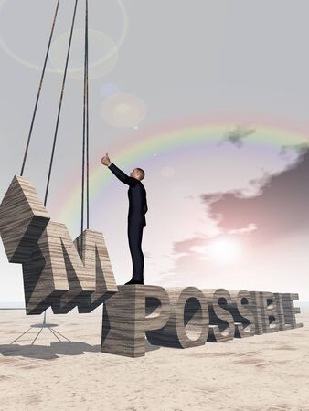 rainbow sky: Conceptual 3D business man standing over abstract stone impossible text over rainbow sky