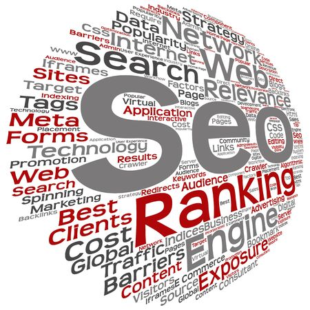 page rank: Concept or conceptual search engine optimization, seo abstract word cloud isolated on background