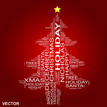 carols: Vector conceptual holiday word cloud isolated on red background