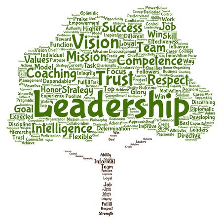 Concepto del vector o el liderazgo conceptual de negocios, el valor de la gestión de la nube palabra árbol aislado en el fondo Ilustración de vector