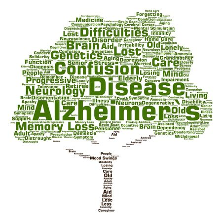 alzheimers: Vector conceptual Alzheimer`s disease symtoms abstract tree word cloud isolated Illustration
