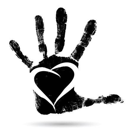 Vector concept conceptueel leuk verf menselijke hand of handafdruk van kind met hartvorm op een witte achtergrond