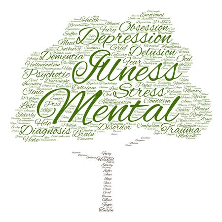 psychotic: Vector conceptual mental illness disorder management or therapy abstract tree word cloud isolated