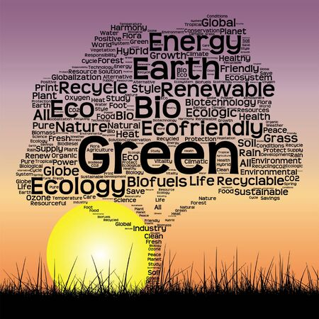 Vector conceptual ecology tree at sunset  word cloud with sun and grass Illustration