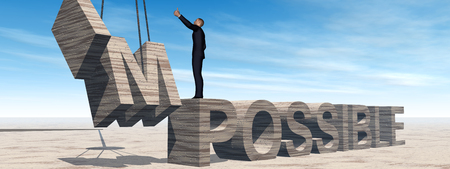 Conceptual 3D business man standing over abstract stone impossible text over sky banner