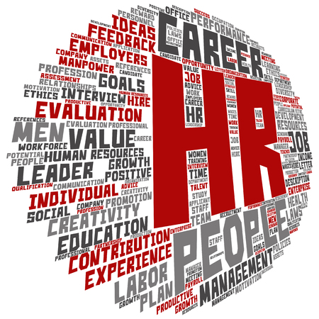 Concept hr or human resources management abstract round word cloud isolated on background, metaphor to workplace, development, career, success, hiring, competence, goal, corporate or job Stock Photo