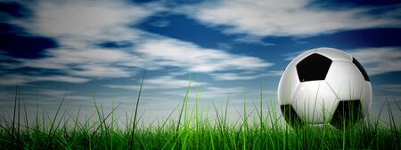 Conceptual 3D soccer ball in fresh green summer or spring field grass with a blue sky background banner Stock Photo