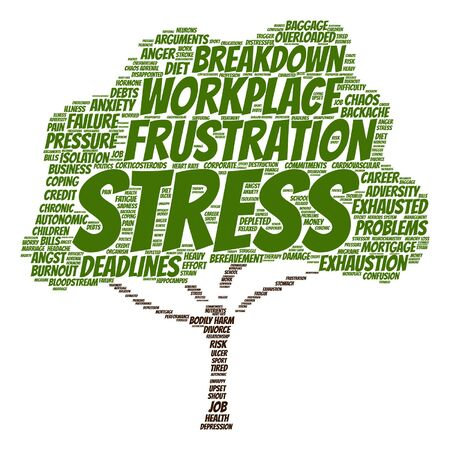 transactional: Vector conceptual mental stress at workplace or job tree word cloud isolated on background Illustration