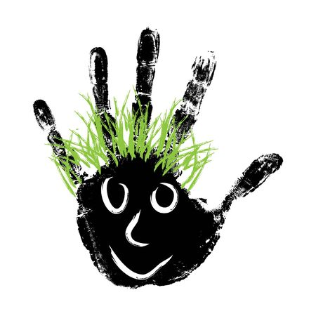 green hair: conceptual cute paint human hand or handprint of child with happy face and green hair isolated on white background Illustration