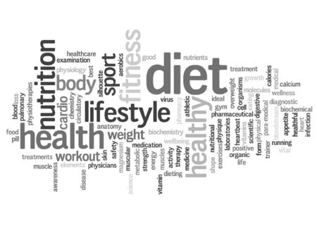 consonance: conceptual health or diet word cloud concept isolated on background Illustration