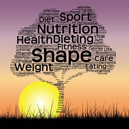 conceptual health tree at sunset  word cloud with sun and grass