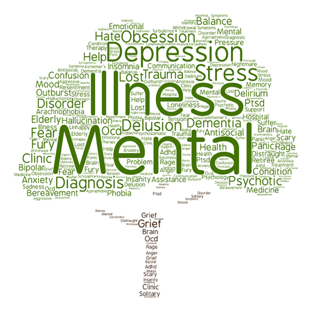 mental illness: conceptual mental illness disorder management or therapy abstract tree word cloud isolated