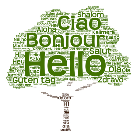 conceptual abstract hello or greeting international tree word cloud in different languages