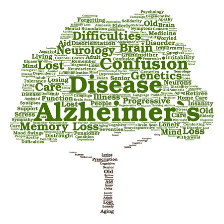 delusional: conceptual Alzheimer`s disease symtoms abstract tree word cloud isolated Illustration