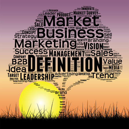 conceptual media business tree at sunset  word cloud with sun and grass