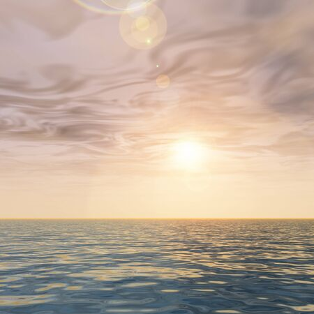 sea horizon: 3D conceptual sunset or sunrise background with the sun close to horizon and sea or ocean