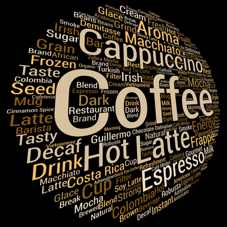 caffeine: Concept conceptual creative hot coffee, cappuccino or espresso abstract word cloud isolated on background, metaphor to morning, restaurant, italian, beverage,