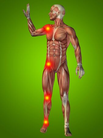 joint pain: Conceptual 3D human man anatomy joint pain body on green background