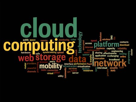 storage device: Vector concept conceptual web cloud computing technology abstract wordcloud isolated on background, metaphor to communication, business, storage, service, internet, virtual, online, mobility hosting Illustration
