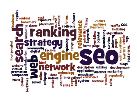 optimizing: Vector concept or conceptual search engine optimization, seo abstract word cloud isolated on background, metaphor to marketing, web, internet, strategy, online, rank, result,  network, top, relevance
