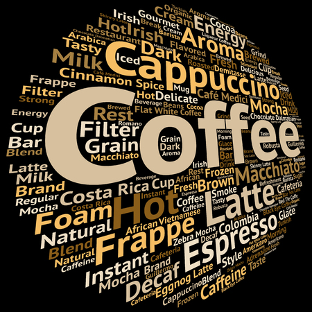 Concept conceptual creative hot coffee, cappuccino or espresso abstract word cloud isolated on background, metaphor to morning, restaurant, italian, beverage,