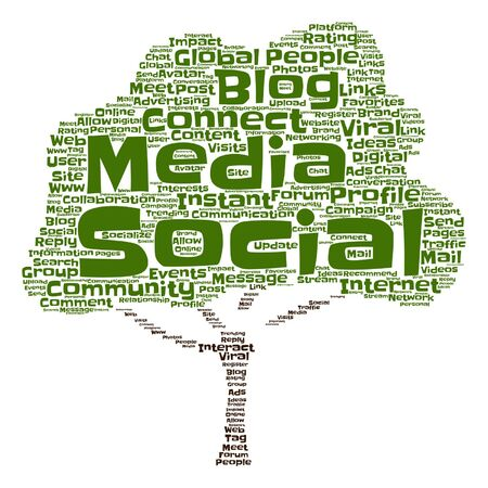 Vector concept or conceptual social media marketing abstract tree word cloud isolated Illustration