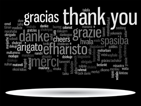 Vector conceptual thank you word cloud isolated for business or Thanksgiving Day
