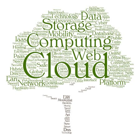 Vector concept conceptual web cloud computing technology abstract tree wordcloud isolated on background for communication, business, storage, service, internet, virtual, online, mobility hosting Illustration