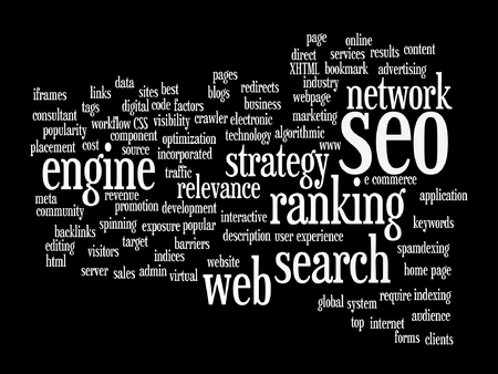 keyword: Vector concept or conceptual search engine optimization, seo abstract word cloud isolated on background