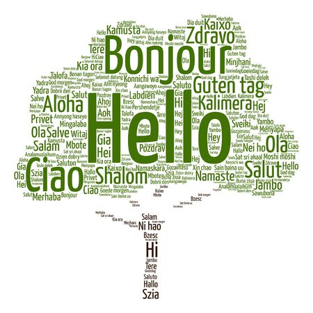 meet and greet: Vector concept or conceptual abstract tree hello or greeting international word cloud in different languages or multilingual metaphor to world, foreign, worldwide, travel, translate, vacation tourism