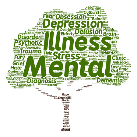 Vector concept conceptual mental illness disorder management or therapy abstract tree word cloud isolated on background metaphor to health, trauma, psychology, help, problem, treatment rehabilitation