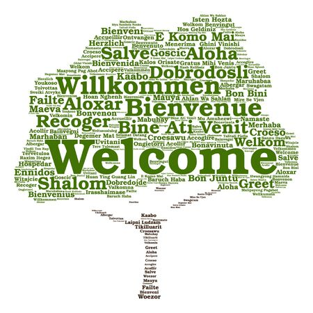 Vector concept or conceptual welcome or greeting international tree word cloud in different languages or isolated Vetores
