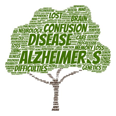 delusional: Vector conceptual Alzheimer`s disease symtoms abstract tree word cloud isolated Illustration