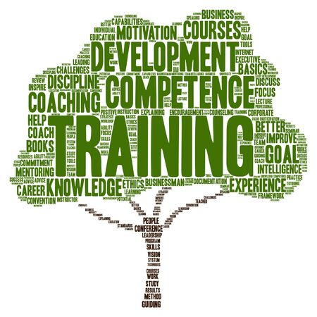 Vector concept or conceptual training, coaching or learning, study tree word cloud isolated on background