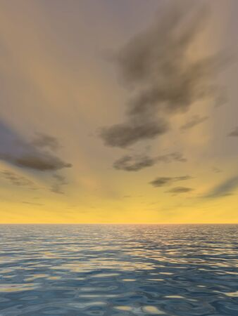 3D conceptual sunset or sunrise background with the sun close to horizon and sea or ocean
