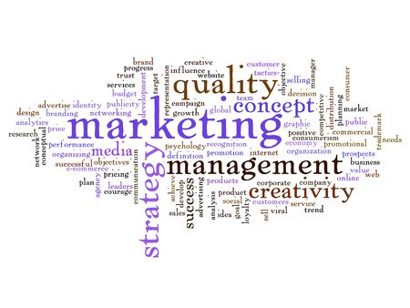Conceptual business marketing word cloud concept isolated on background Stock Photo