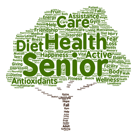 Vector conceptual old senior health, care or elderly people abstract tree word cloud isolated Illustration
