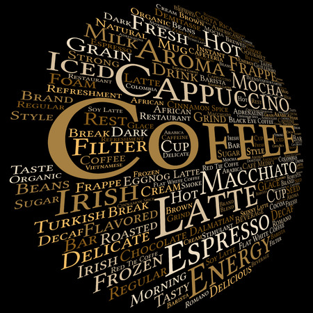 Concept conceptual creative hot coffee, cappuccino or espresso abstract word cloud isolated on background, metaphor to morning, restaurant, italian, beverage, cafeteria, break, energy or taste