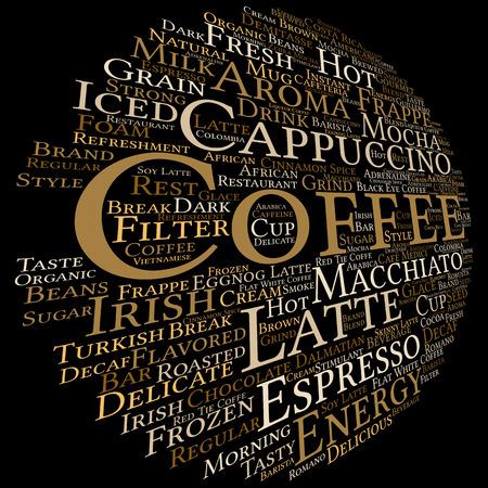 Concept conceptuele creatieve hete koffie, cappuccino of espresso abstracte woord wolk geïsoleerd op achtergrond, metafoor tot ochtend, restaurant, Italiaans, drank, cafetaria, pauze, energie of smaak Stockfoto
