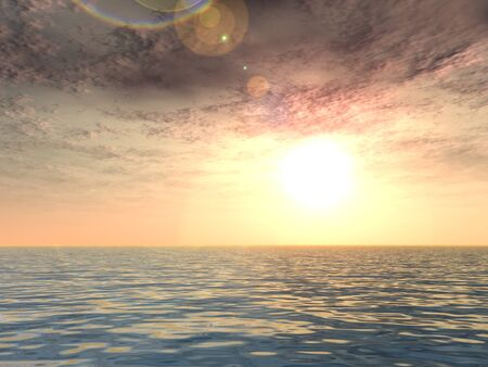 3D conceptual sunset or sunrise background with the sun close to horizon and sea or ocean Stock Photo - 75335575