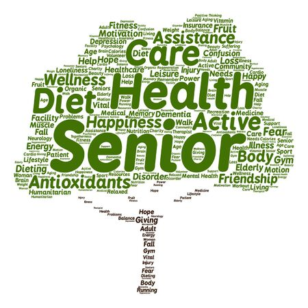 Vector Conceptual old senior health, care or elderly people abstract tree word cloud isolated
